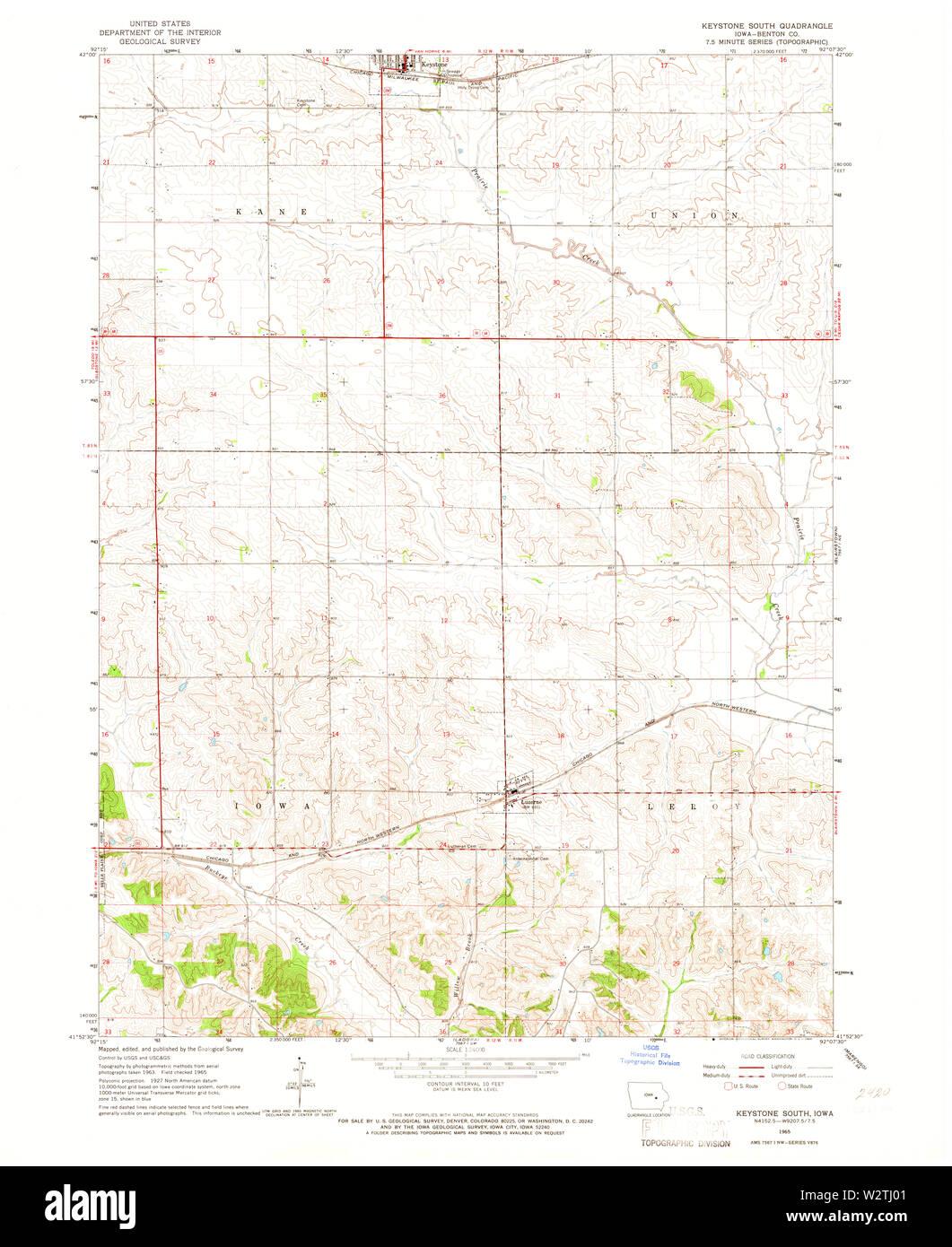 USGS TOPO Maps Iowa IA Keystone South 174927 1965 24000 ...