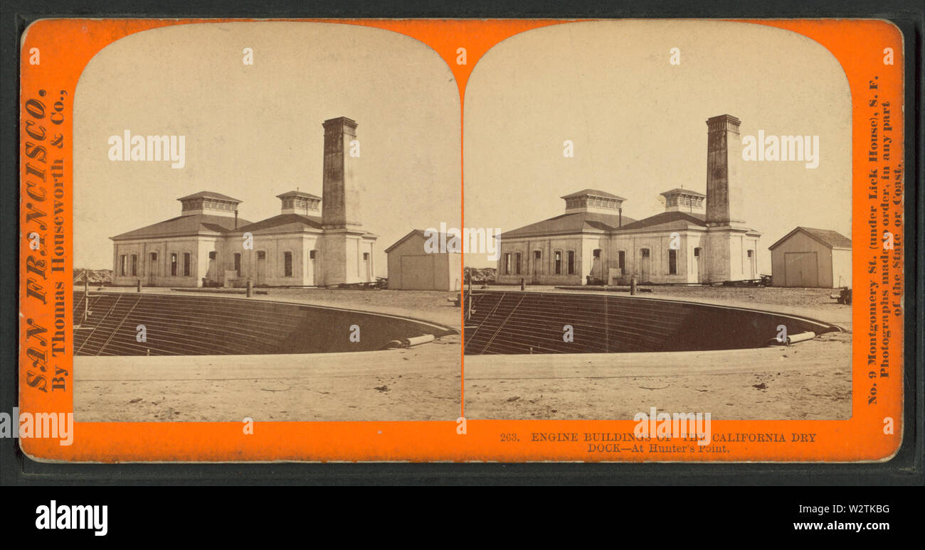 Engine Buildings at California Dry Dock at Hunter's Point, by Thomas Houseworth & Co - Stock Image