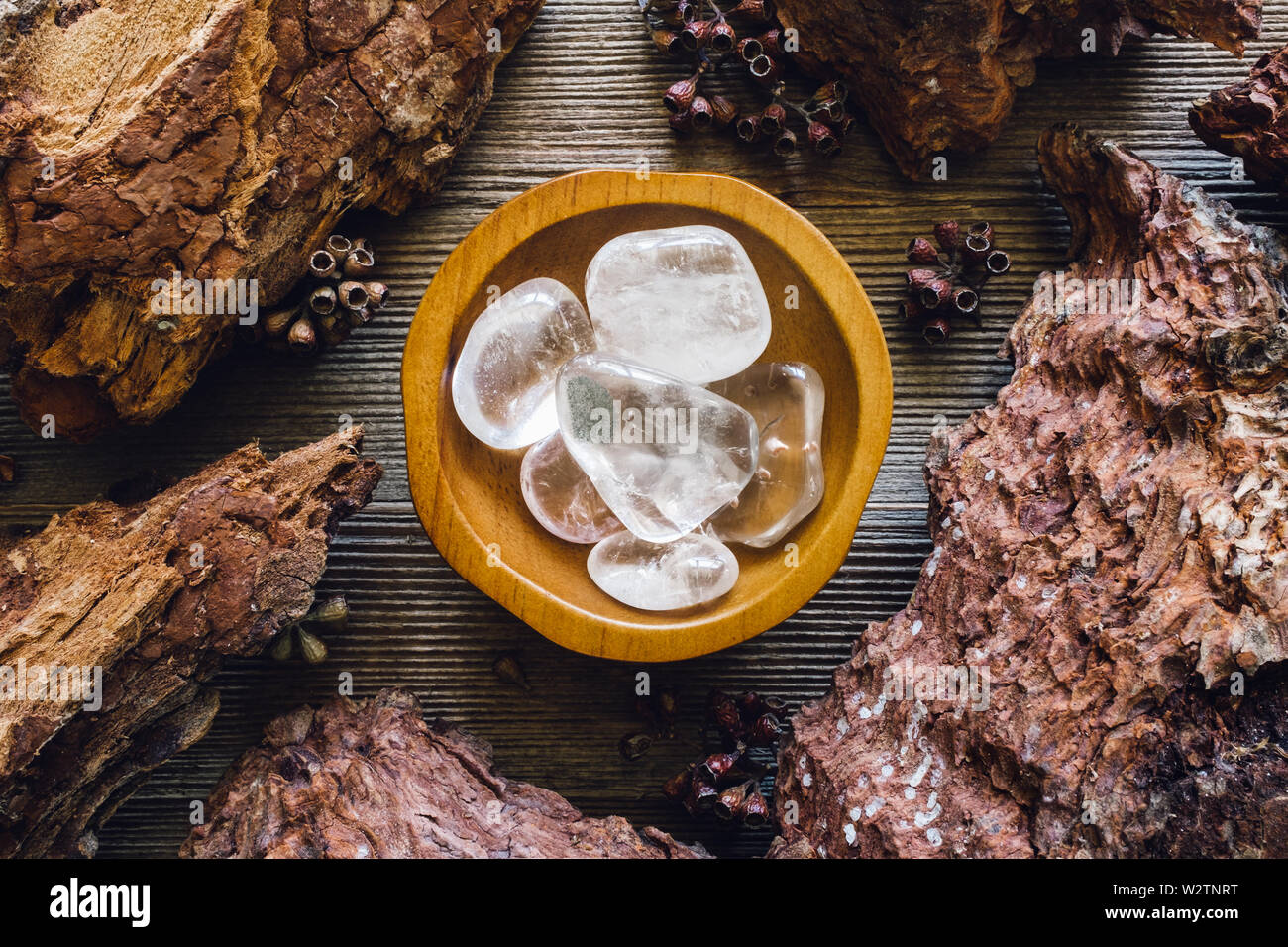 Bowl of Clear Quartz in Wood Frame Stock Photo