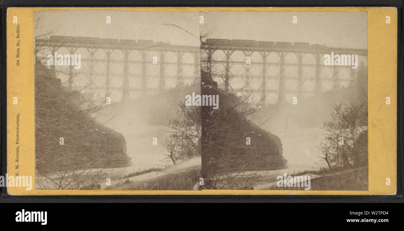 Falls & Bridge, Portage, NY, by Knight, W M, 1841-1881 - Stock Image
