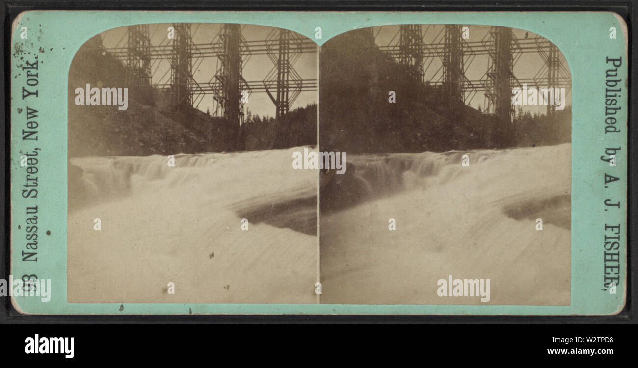 Falls & Bridge, Portage, NY, by Fisher, A J (Albert J), 1842-1882 - Stock Image