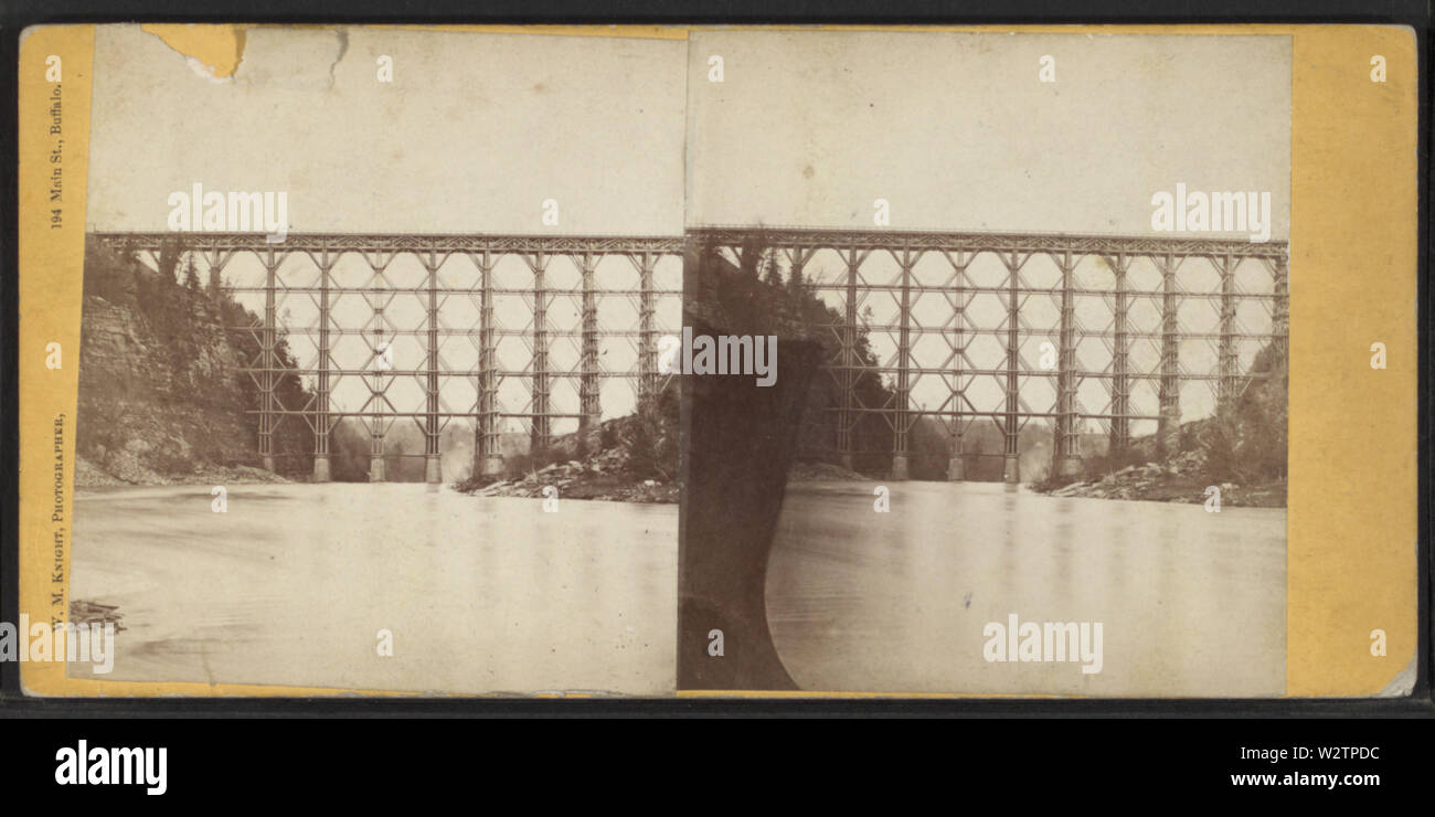 Falls & Bridge, Portage, NY, by Knight, W M, 1841-1881 2 - Stock Image