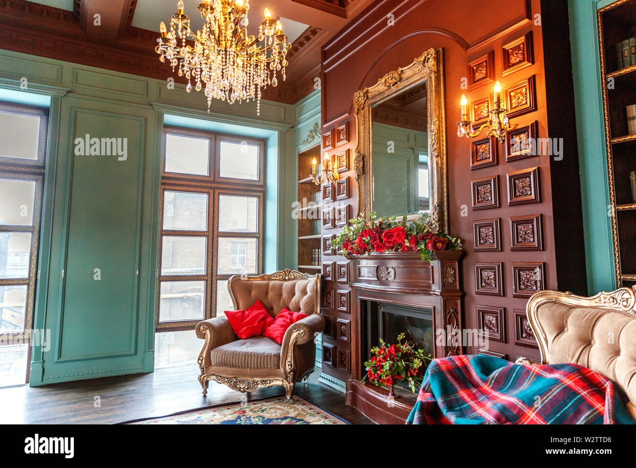 Luxury Classic Interior Of Home Library Sitting Room With