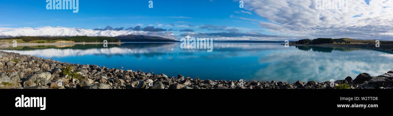 Lake Pukaki, MacKenzie Country, South Island, New Zealand - Stock Image