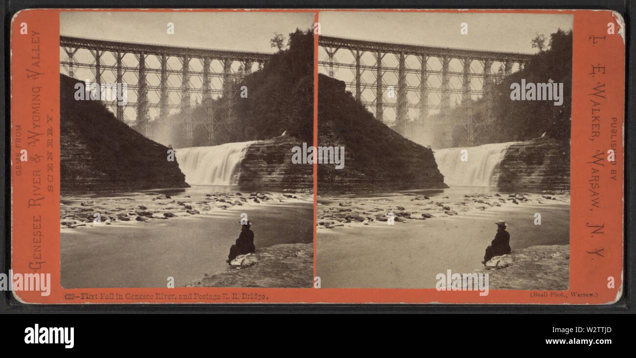 First Fall in Genesee River, and Portage RR Bridge, from Robert N Dennis collection of stereoscopic views - Stock Image