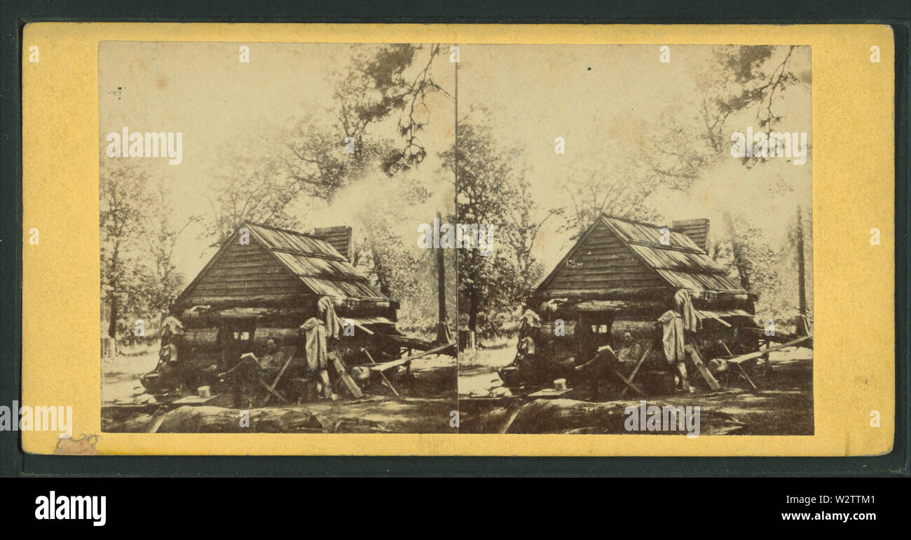First Log Cabin, Yosemite Valley, from Robert N Dennis collection of stereoscopic views - Stock Image