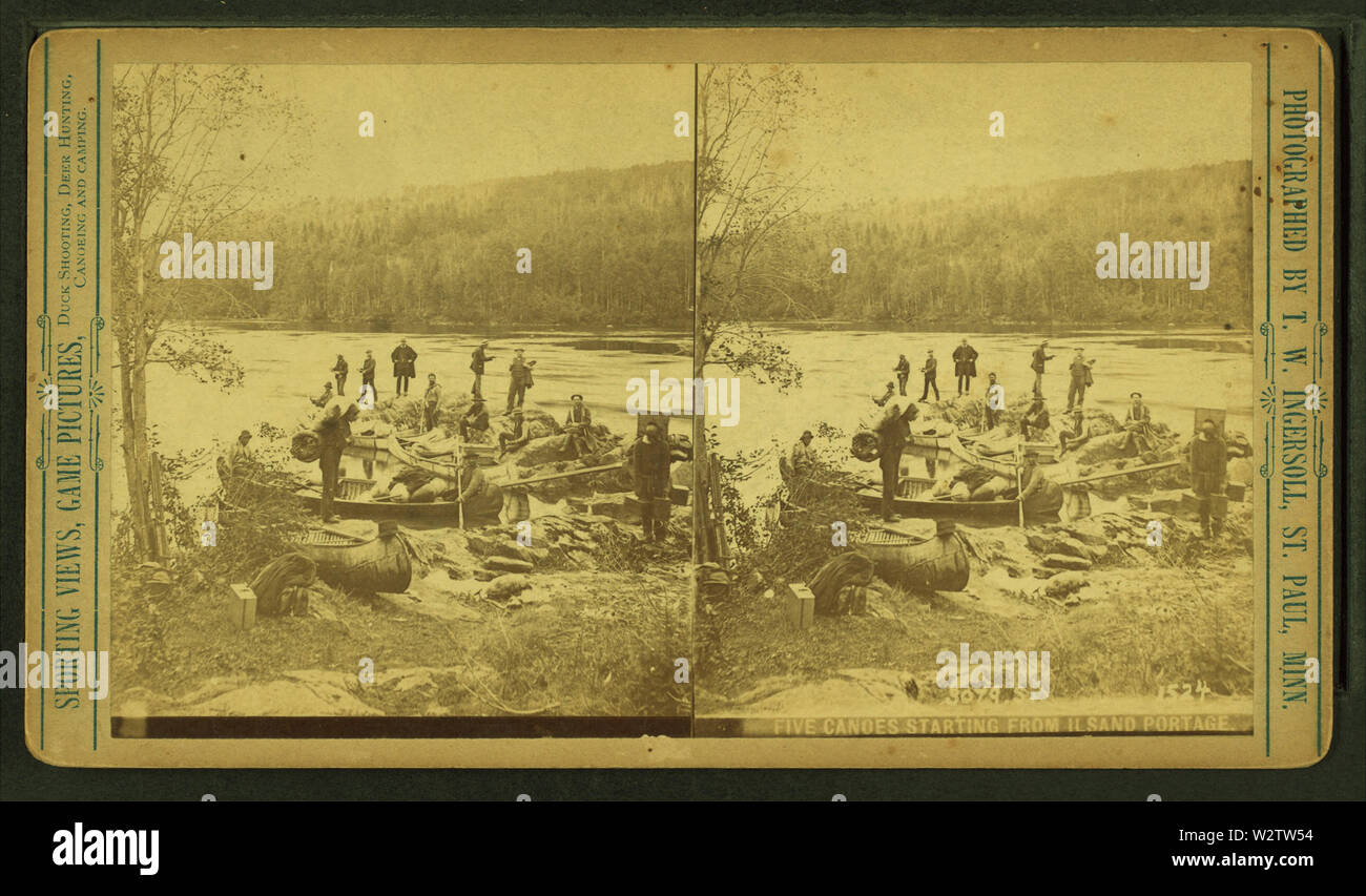 Five canoes starting from Ilsand portage, by Ingersoll, T W (Truman Ward), 1862-1922 - Stock Image