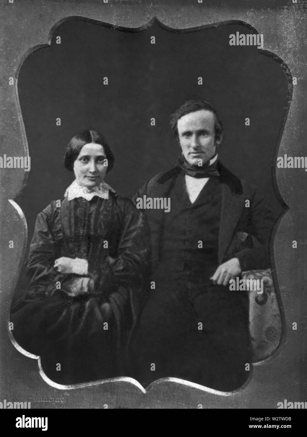 Rutherford B. Hayes (1822-93), 19th President of the United States 1877-81, and his Wife Lucy Webb Hayes (1831-89) on their Wedding Day, Three-Quarter Length Portrait, Daguerreotype, December 30, 1852 - Stock Image
