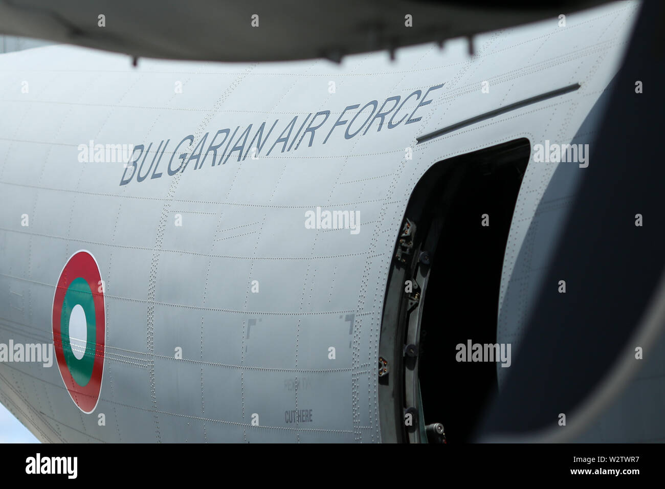 Otopeni, Romania - May 22, 2019: Alenia C-27J Spartan military cargo plane from the Bulgarian Air Force landed in an airbase during a drill. Stock Photo