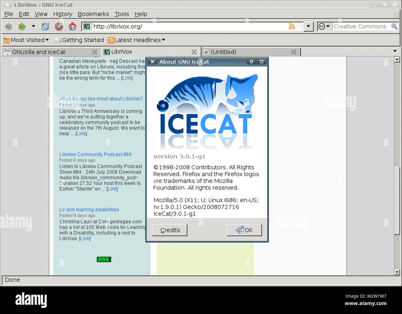 GNU IceCat 301-g1 about lhe - Stock Image
