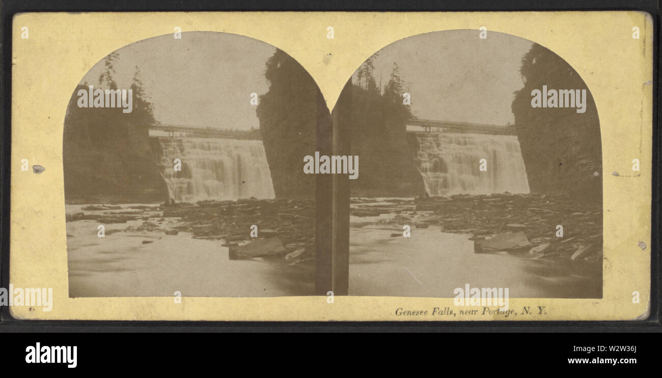 Genesee Falls, near Portage, NY, from Robert N Dennis collection of stereoscopic views 3 - Stock Image