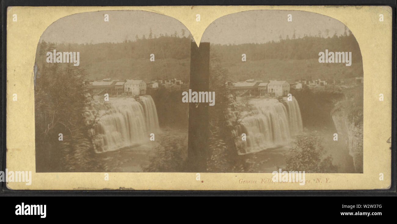 Genesee Falls, near Portage, NY, from Robert N Dennis collection of stereoscopic views - Stock Image
