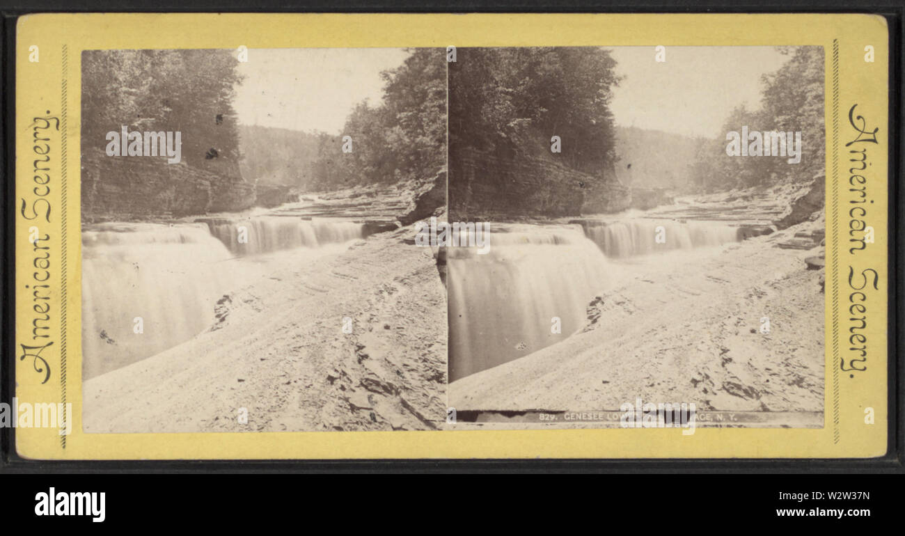 Genesee Lower Falls, Portage, NY, from Robert N Dennis collection of stereoscopic views - Stock Image