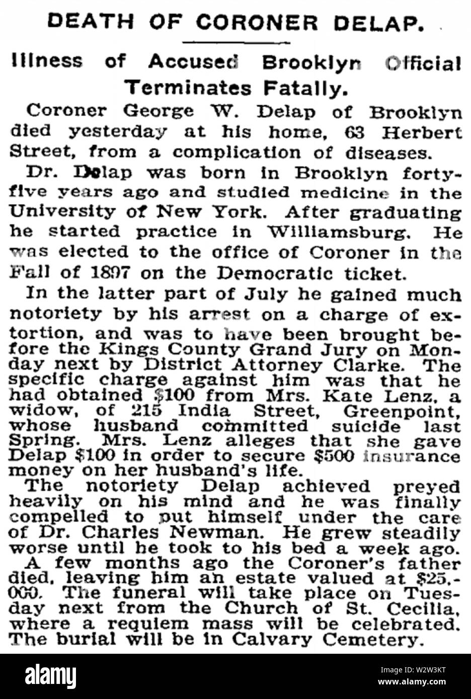 George Washington Delap, MD (1857-1901) obituary in the New