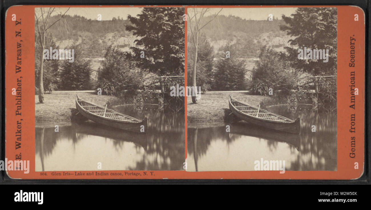 Glen Iris -- Lake and Indian canoe, Portage, NY, by Walker, L E, 1826-1916 - Stock Image