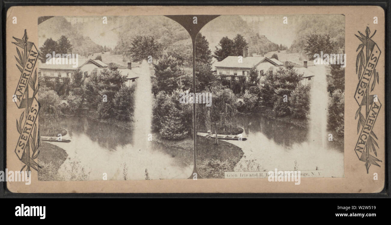 Glen Iris and RR Bridge, Portage, NY, from Robert N Dennis collection of stereoscopic views - Stock Image