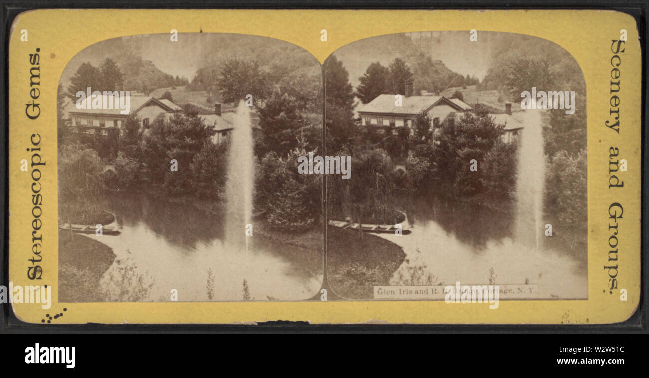 Glen Iris and RR Bridge, Portage, NY, from Robert N Dennis collection of stereoscopic views 3 - Stock Image