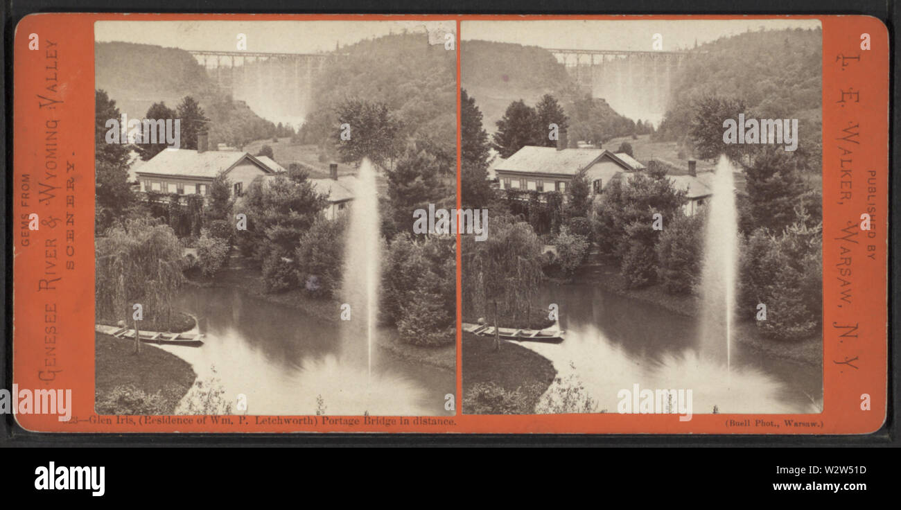 Glen Iris, (Residence of Wm P Lechworth) Portage Bridge in distance, by Walker, L E, 1826-1916 - Stock Image