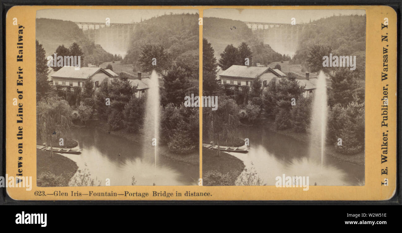 Glen Iris -- Fountain --Portage Bridge in distance, by Walker, L E, 1826-1916 - Stock Image