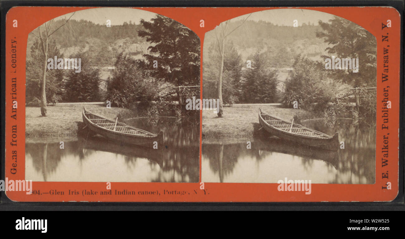 Glen Iris (lake and Indian canoe), Portage, NY, by Walker, L E, 1826-1916 - Stock Image
