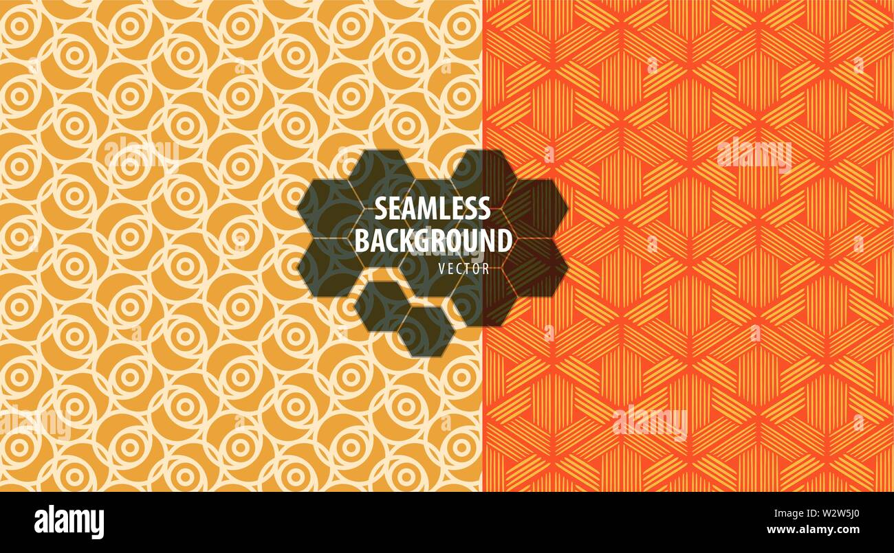 Set of seamless patterns. Abstract geometric background vector - Stock Vector