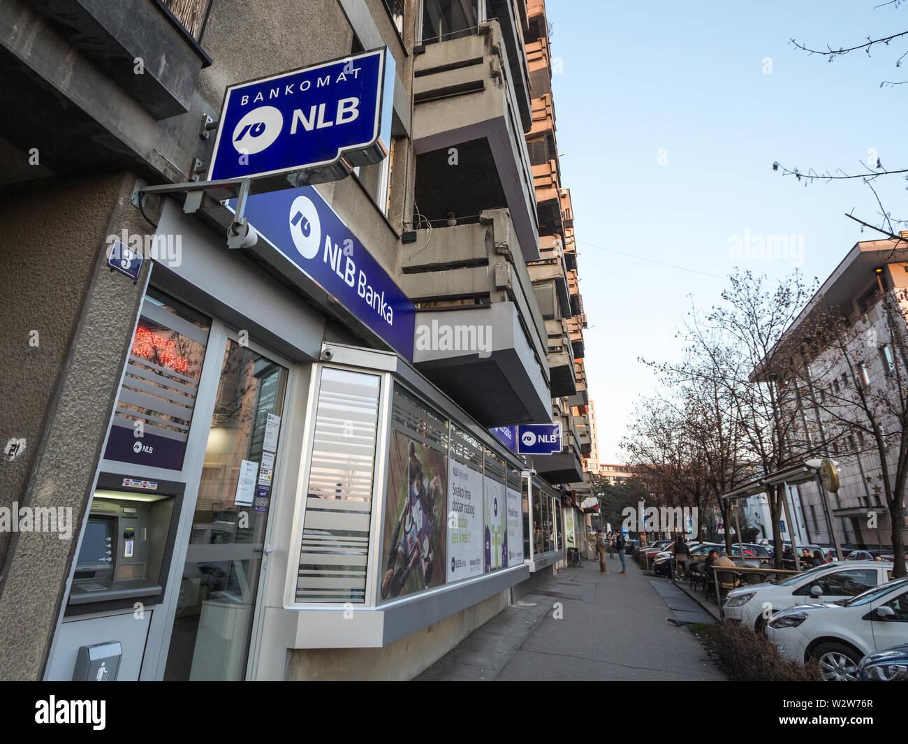 BELGRADE, SERBIA - FEBRUARY 17, 2019: NLB Bank Group logo on their local retail agency for Serbia. NLB Group, formerly Ljubljanska Banka, is a Sloveni - Stock Image