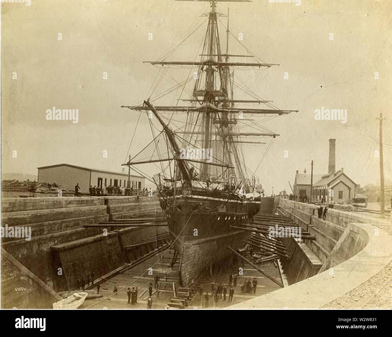 HMS Canada in dry-dock, Halifax Graving Yards, Halifax, Nova Scotia - Stock Image