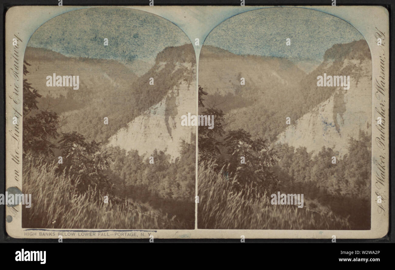 High Banks below Lower Fall, Portage, NY, by Walker, L E, 1826-1916 - Stock Image