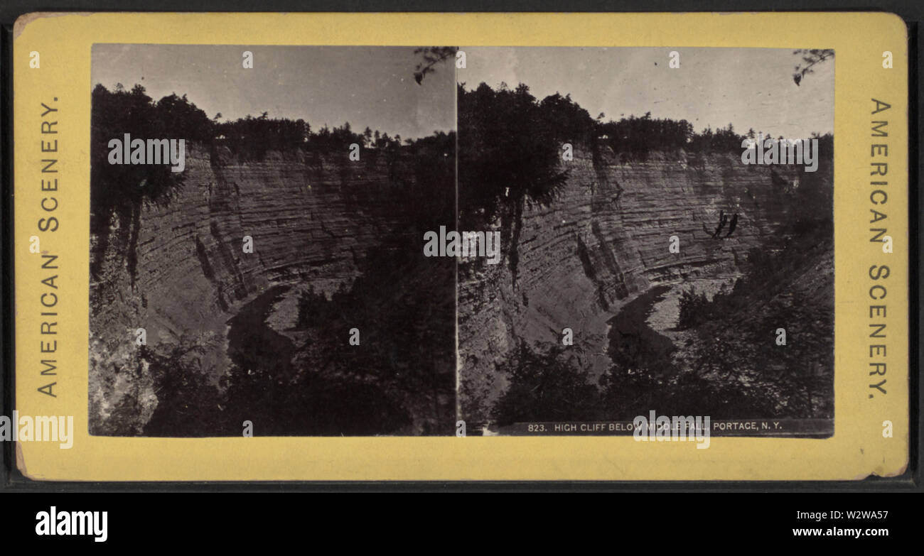 High Cliff below Middle Fall, Portage, NY, from Robert N Dennis collection of stereoscopic views - Stock Image