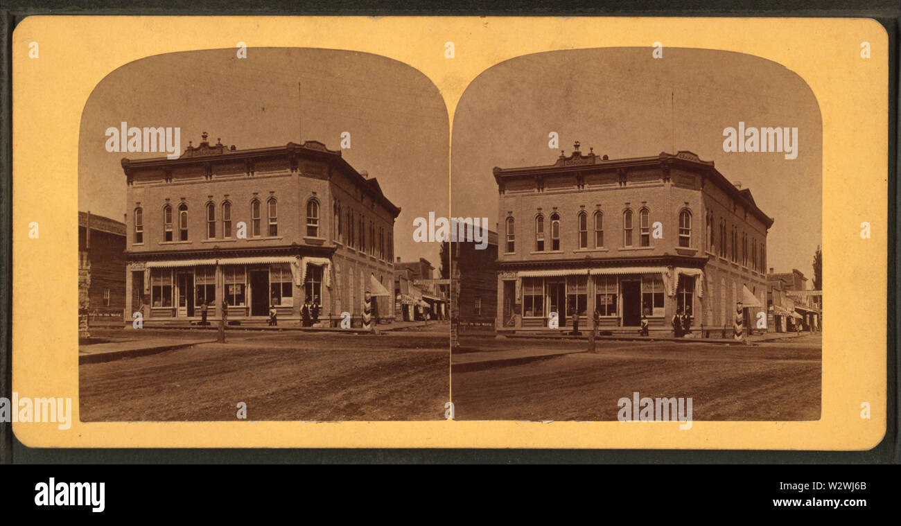 John Graham's Store, Portage, Wis, from Robert N Dennis collection of stereoscopic views 2 - Stock Image