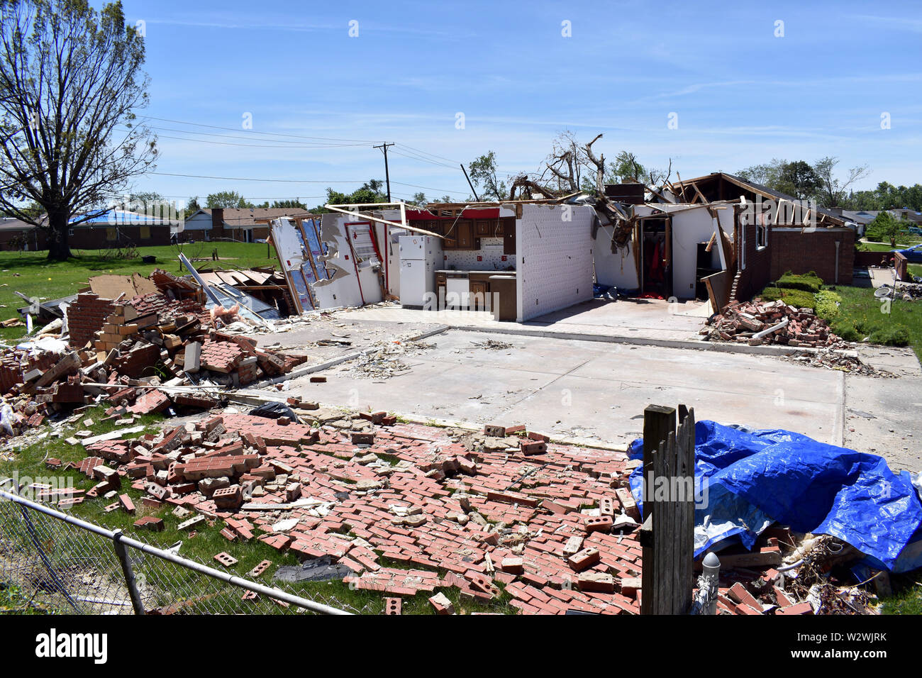 Tornado damage that occurred on Jun 15, 2019 in the Dayton, Ohio vicinity - Stock Image