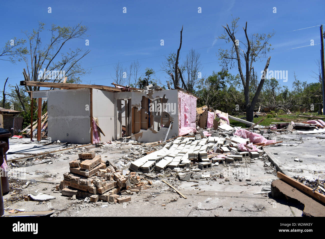 Tornado damage that occurred on the 27th of May 2019 in the Dayton, Ohio vicinity - Stock Image