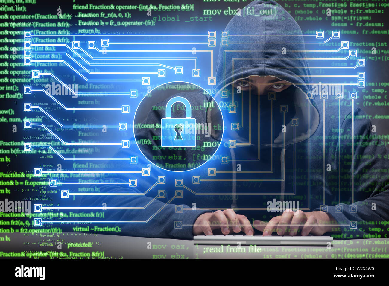 The young hacker in cybersecurty concept - Stock Image