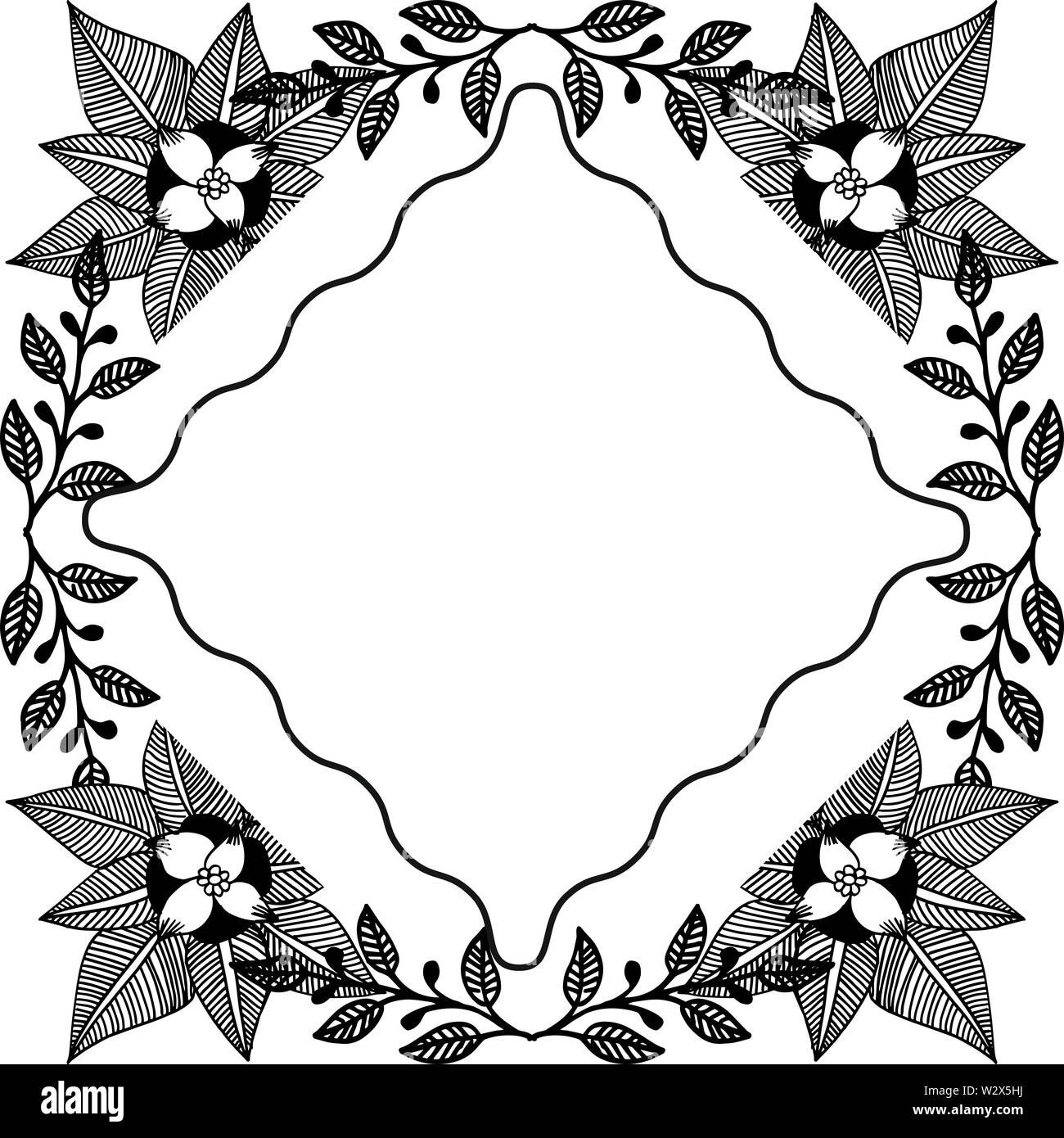 Design Floral With Silhouette Backdrop On A White Border