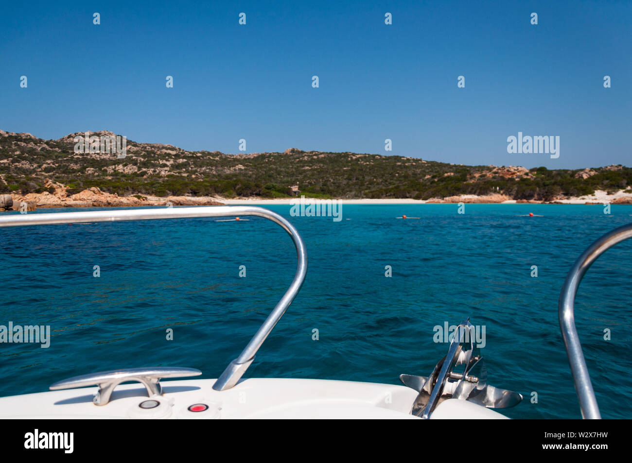 Amazing azure sea water on pink beach maddalena budelli island in Sardinia , Italy Stock Photo