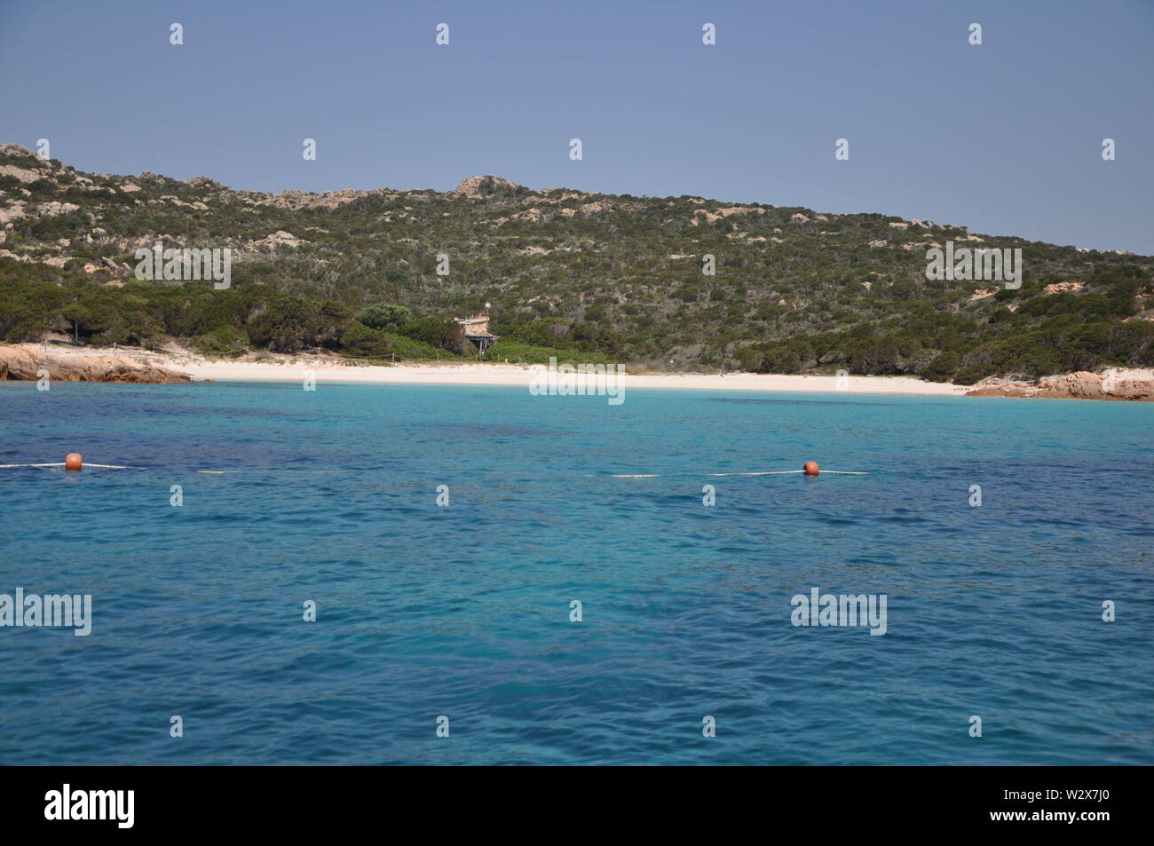 Amazing azure sea water on pink beach maddalena budelli island in Sardinia , Italy Stock Photo