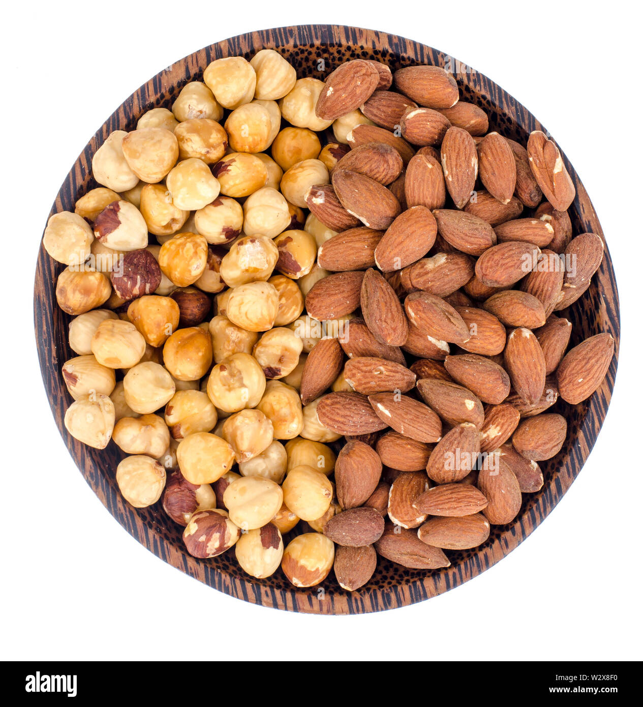 Mix of nuts on white background Stock Photo