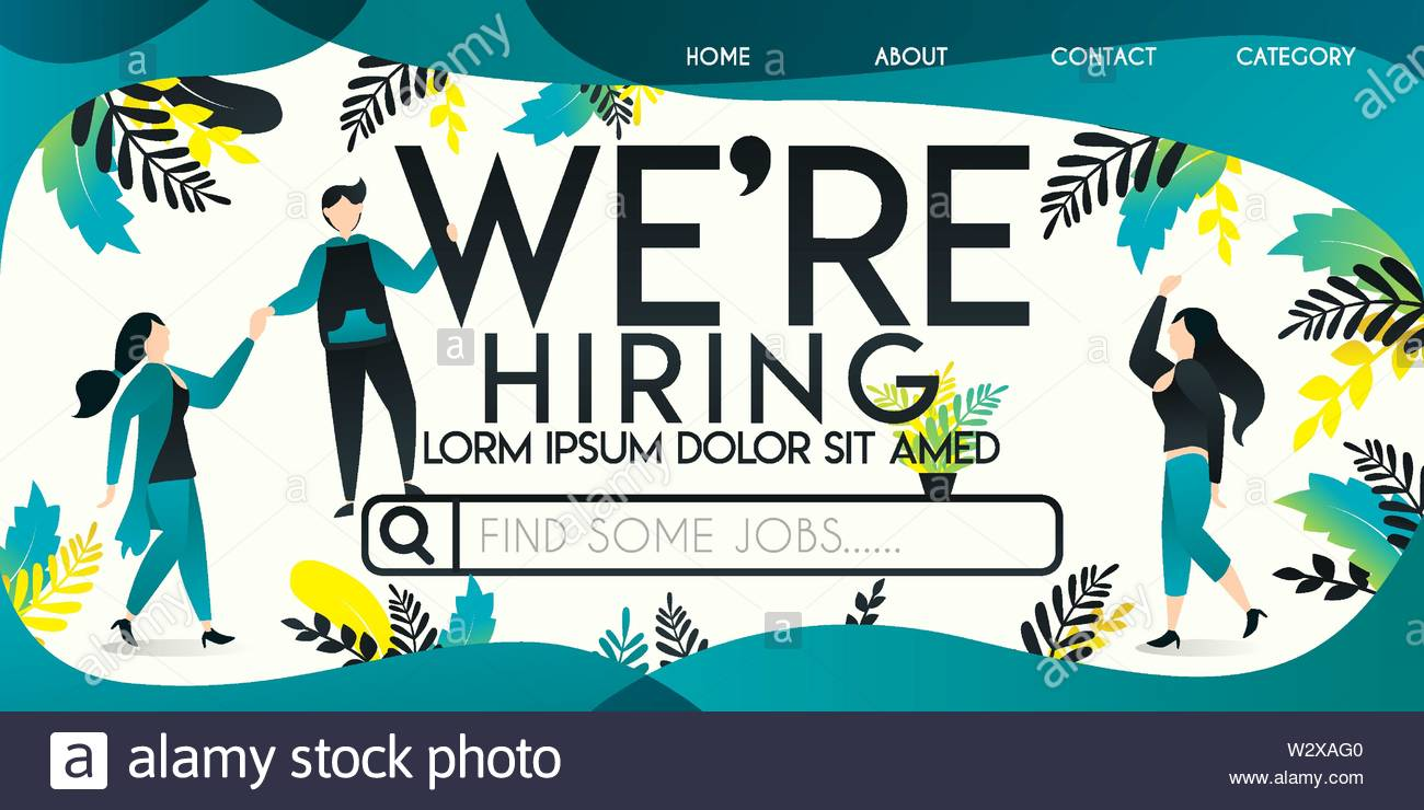 We Re Hiring Vector Illustration Concept Man Who Is Helping A Woman Ride On A Job Search Engine With We Re Hiring Word Can Use For Landing Page Stock Vector Image Art