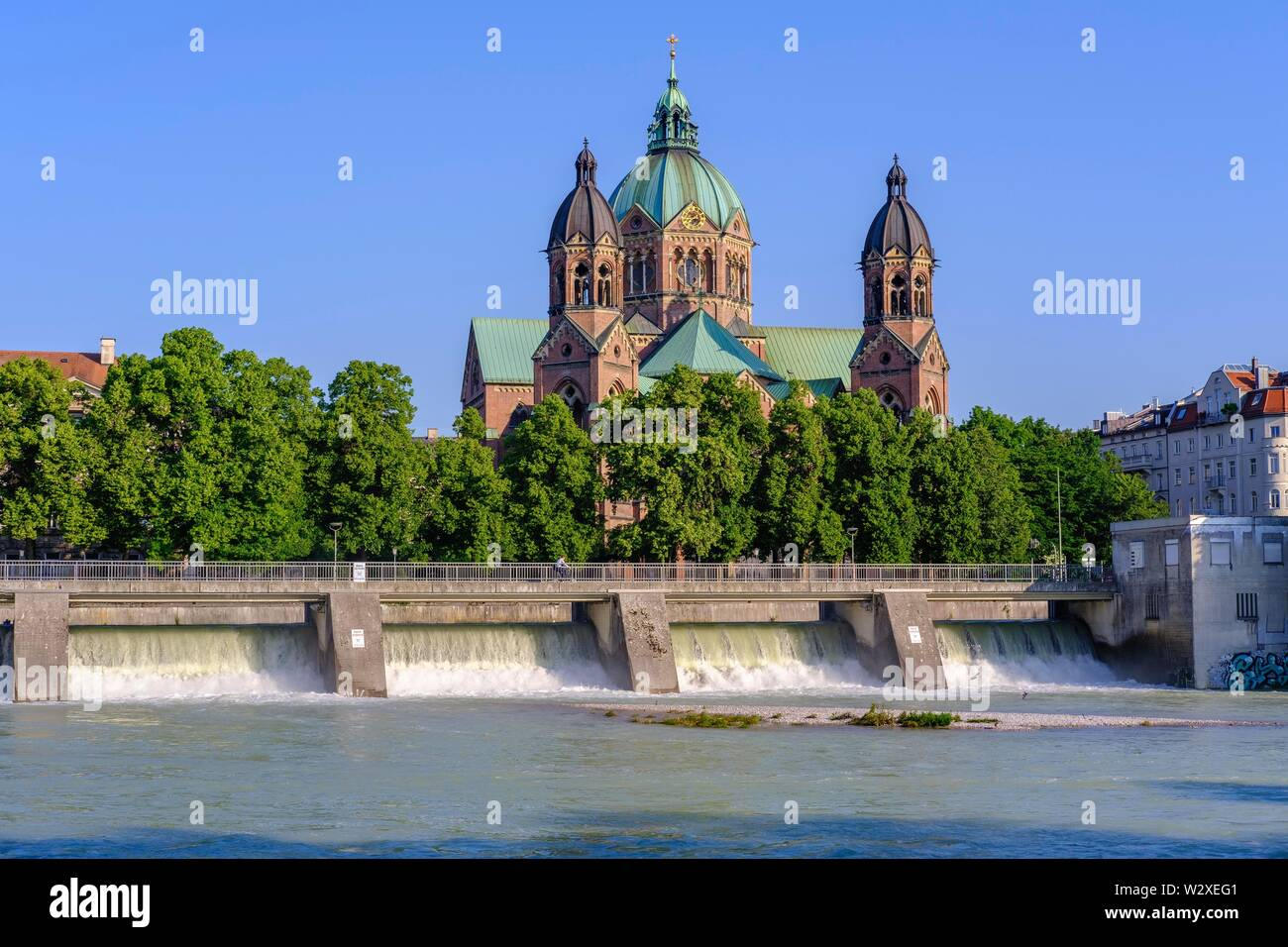 Church St. Lukas, Isar with Wehrsteg, Lehel, Munich, Upper Bavaria, Bavaria, Germany - Stock Image