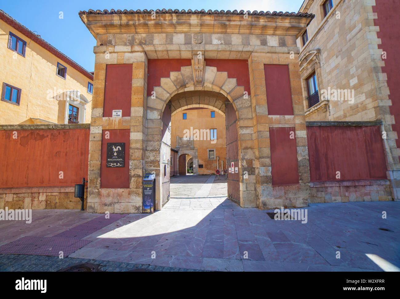 Leon, Spain - June 25th, 2019:  Collegiate of San Isidoro, León, Spain. Main Entrance - Stock Image