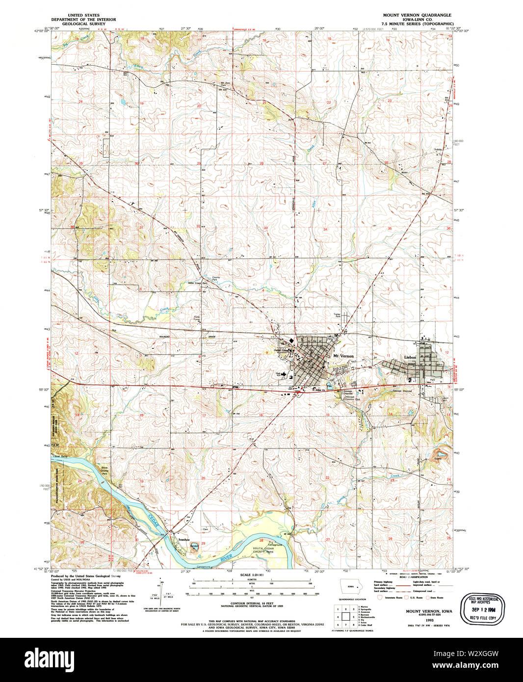 mount vernon iowa map Usgs Topo Maps Iowa Ia Mount Vernon 175212 1993 24000 Restoration mount vernon iowa map