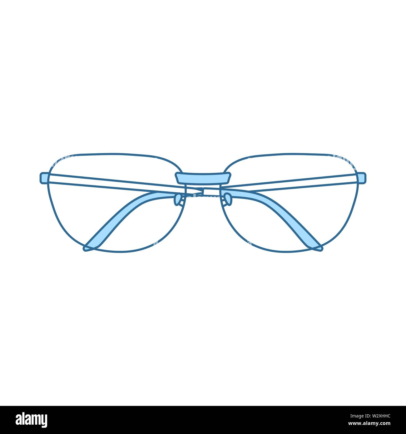 Glasses Icon. Thin Line With Blue Fill Design. Vector Illustration. - Stock Image