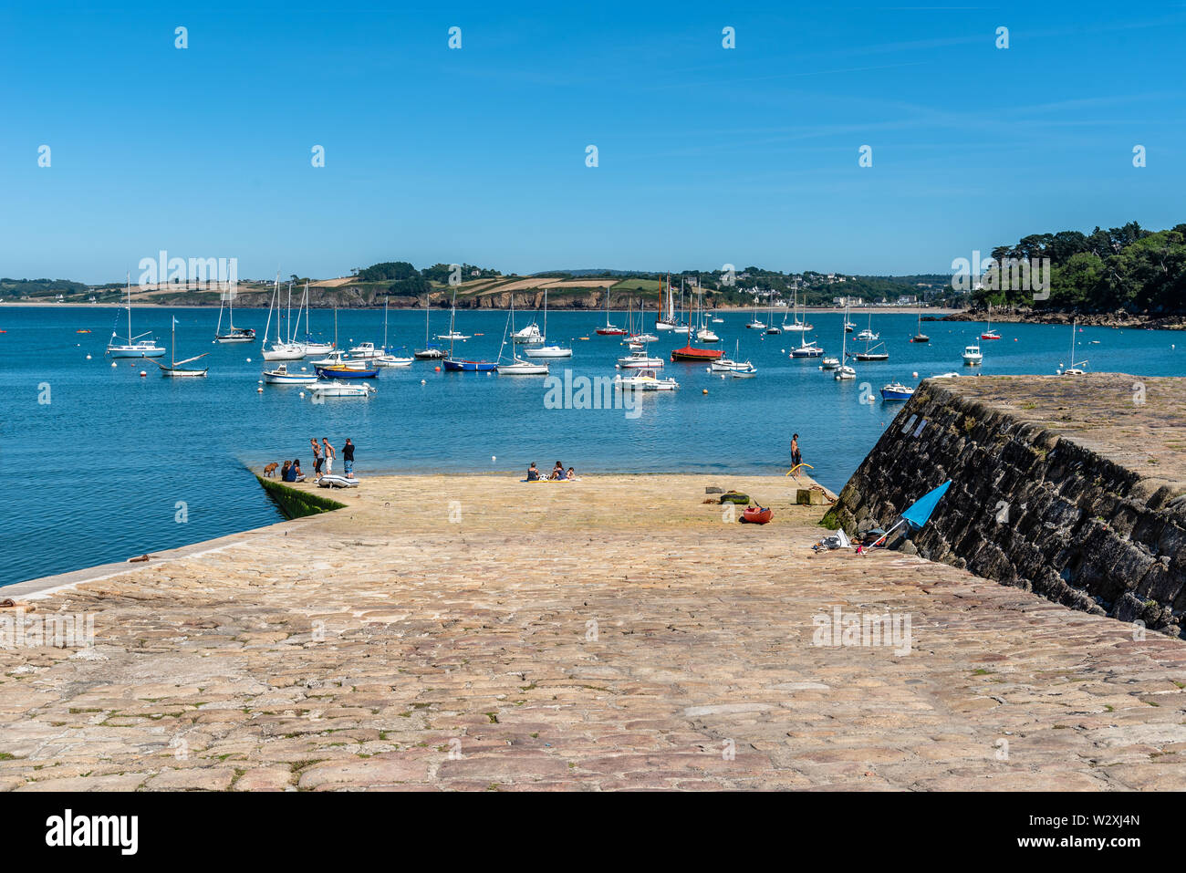 Douarnenez, France - August 2, 2018: The fishing port a sunny day of summer Stock Photo