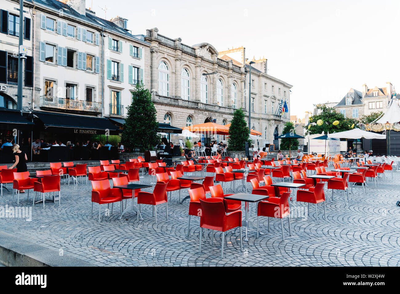 Quimper, France - August 2, 2018: Cityscape of the old town of Quimper, the capital of the Finistere department of Brittany in northwestern France Stock Photo