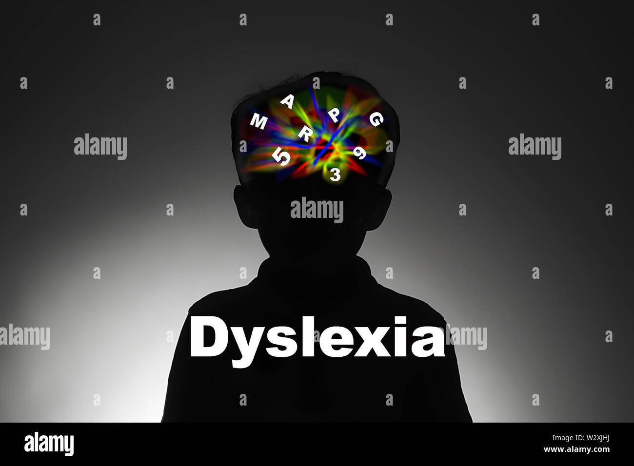 dyslexic child Stock Photo