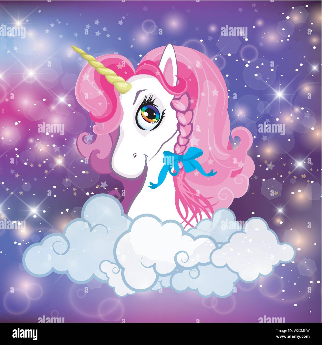 unicorn head with pink mane portrait on rainbow mesh kawaii universe galaxy space or night sky holographic background clouds magic sparkles stars W2XMKW