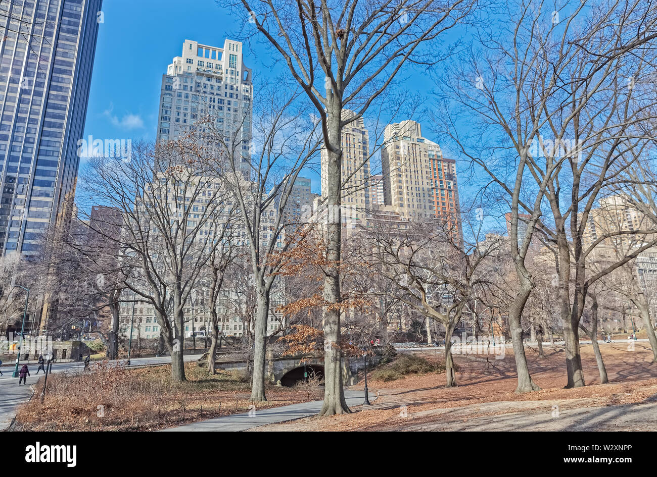 City view from the Central Park in winter season, Manhattan New York City USA. - Stock Image