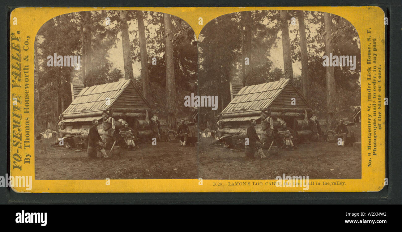 Lamon's Log Cabin, the first built in the Valley, by Lawrence & Houseworth - Stock Image