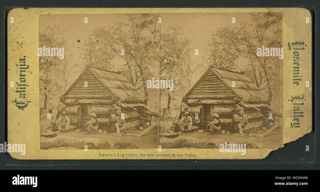 Lamon's Log Cabin, the first erected in the Valley, from Robert N Dennis collection of stereoscopic views - Stock Image