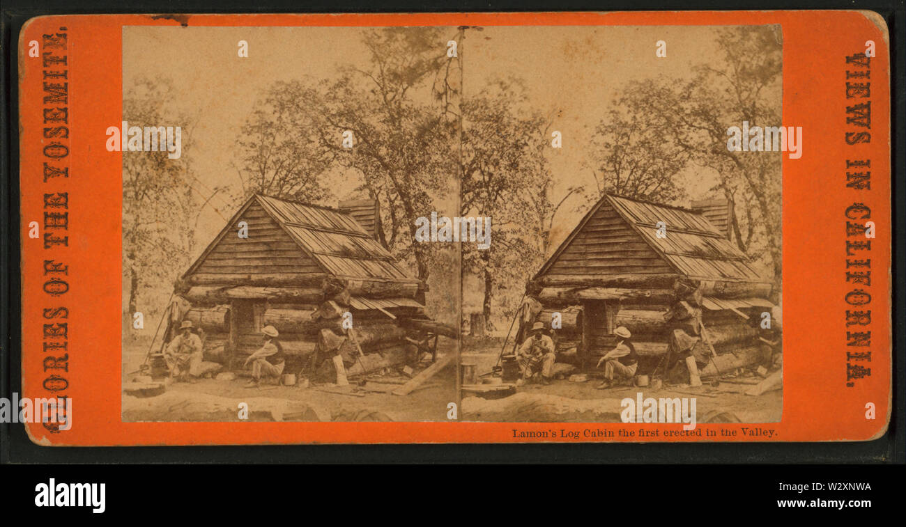 Lamon's Log Cabin, the first erected in the Valley,, by E & HT Anthony (Firm) 2 - Stock Image